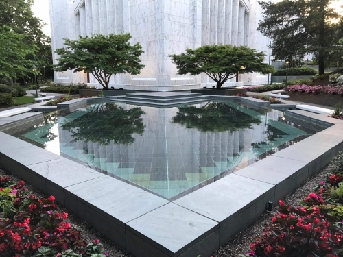 Reflecting pool at Portland LDS Temple, Lake Oswego, OR.